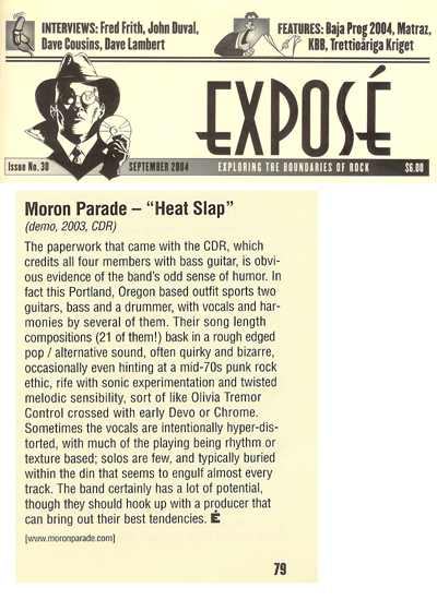 Moron Parade, review of HEat Slap, Expose Losa Angeles, California