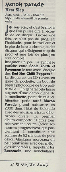 Moron Parade, review of Heat Slap, Prog Resiste, Limal, Belgium