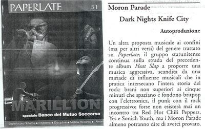 Moron Parade; Dark Nights : Knife City review, Paperlate; Milano Italy
